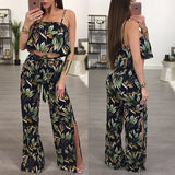 Black Floral Irregular 2-in-1 Long Jumpsuit