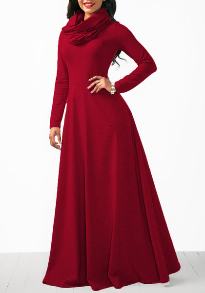 Red Draped Zipper High Waisted Cowl Neck Casual Christmas Maxi Dress