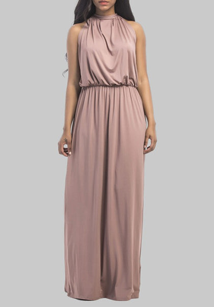 Khaki Neck Tie Back Sleeveless Draped Plus Size Elegant Bridesmaid Maxi Dress