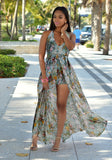 Blue Floral Irregular Backless Halter Neck Plus Size Deep V-neck Chiffon Romper with Maxi Overlay