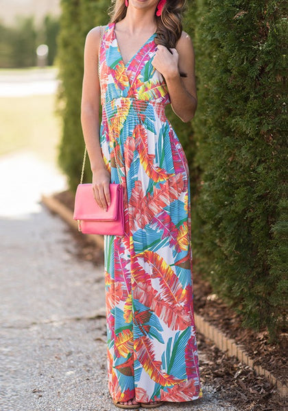 Red Colorful Palm Leaf Print Side Slit V-neck Bohemian Maxi Dress