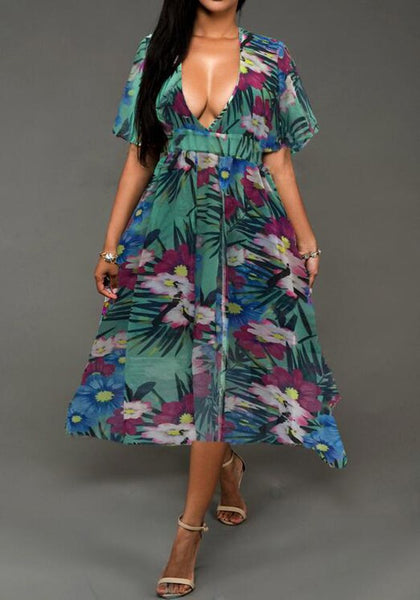 Green Floral Print Deep V-neck Cut Out Half Sleeve Vintage Maxi Dress