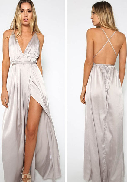 White Irregular Cross Back Slit Deep V-neck Backless Elegant Party Maxi Dress