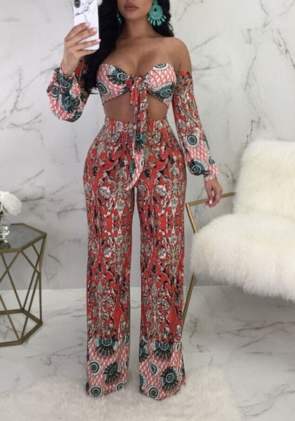 Red Floral Knot Off Shoulder Backless Two Piece Bohemian Wide Leg Long Jumpsuit