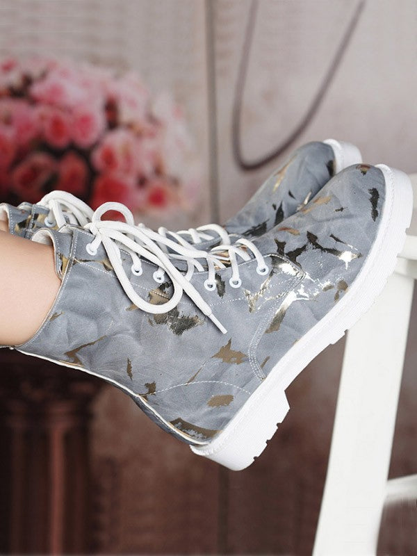 New Grey Round Toe Sequin Lace-up Fashion Boots