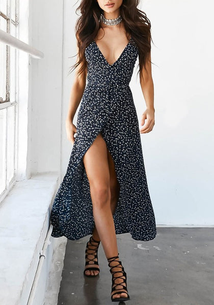 Black Floral Print Backless Slit Deep V Sleeveless Maxi Dress