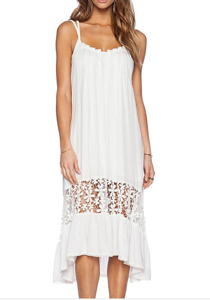 White Irregular Backless Cross Back High-low Off Shoulder Spaghetti Strap Beach Maxi Dress