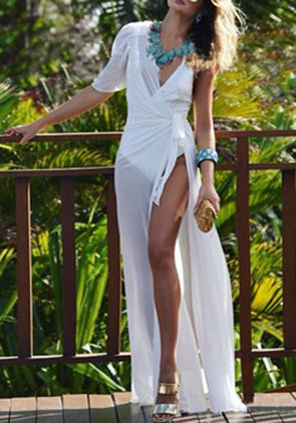 White Irregular Sashes Asymmetric Shoulder Sheer Beach Bikini Cover Up Slit Maxi Dress
