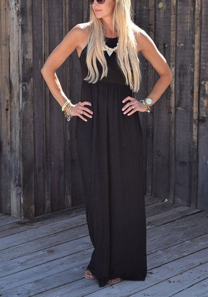 Black Pockets Round Neck Casual Going out Maxi Dress