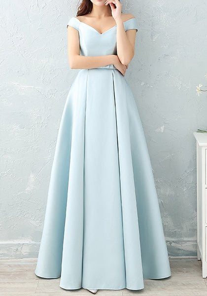 Blue Pleated Bow Lace-up Off Shoulder V-neck Sleeveless Maxi Dress