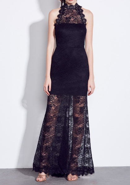 Black Lace Grenadine Cut Out Backless Elegant Maxi Dress