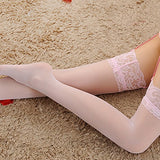 Pink Patchwork Lace Bow Wavy Edge Elastic Waist Long Leggings
