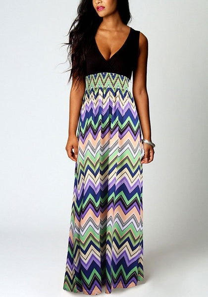 Green Patchwork Striped V-neck Sleeveless National Maxi Dress