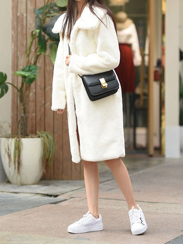 White Patchwork Faux Fur Pockets Buttons Turndown Collar Fashion Outerwear