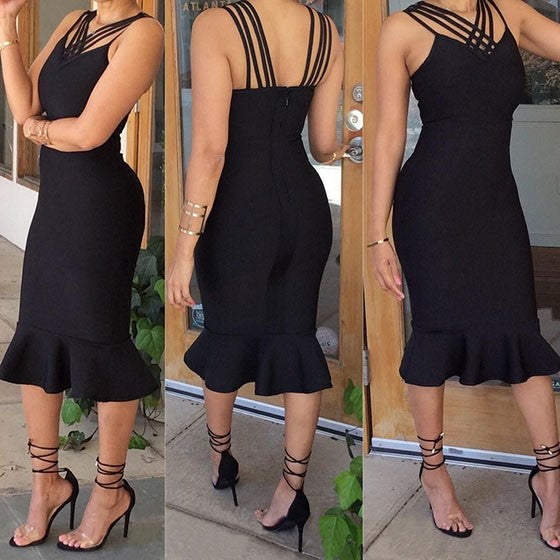 Black Plain Hollow-out Ruffle V-neck Mermaid Spaghetti Straps Backless Slim Midi Dress