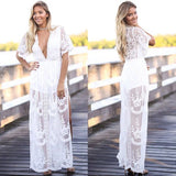 White Patchwork Cut Out Lace Plunging Neckline Fashion Maxi Dress