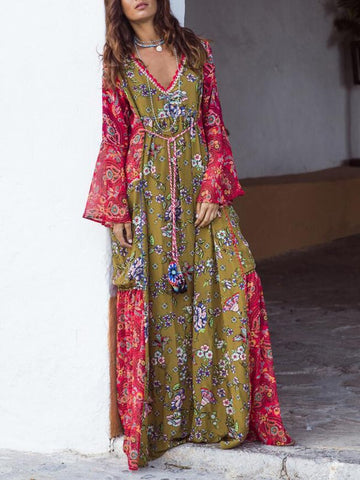 New Green-Red Tribal Floral Pattern Deep V-neck Flare Sleeve Flowy Bohemian Maxi Dress