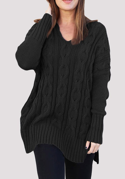 Black Oversize V-neck Long Sleeve Fashion Pullover Sweater