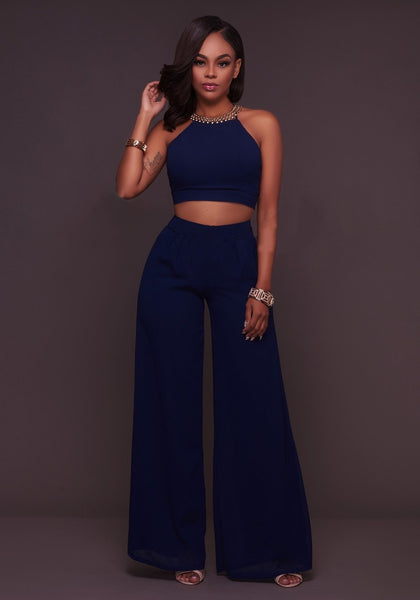Navy Blue Backless Las Vegas Crop Two Piece Wide Leg Long Jumpsuit