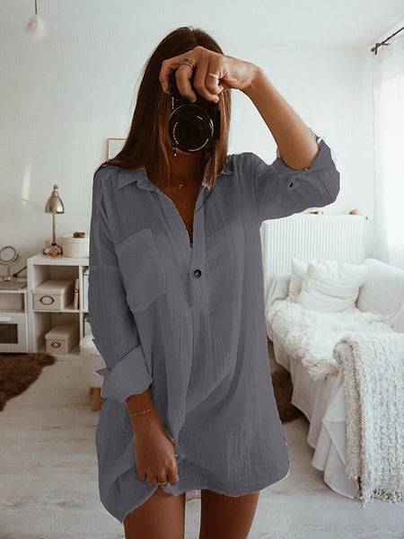 New Grey Buttons Pockets Turndown Collar Long Sleeve Fashion Mini Dress