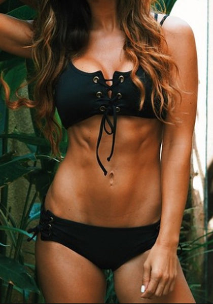 Black Halter Plain Condole Belt Cut Out Bandage Bikini Swimwear