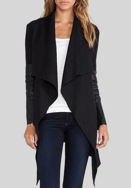 Black Patchwork Turndown Collar V-neck Long Sleeve Coat