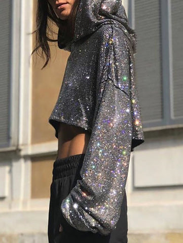 Silver Patchwork Bright Wire Glitter Sparkly Long Sleeve Fashion Sweatshirts
