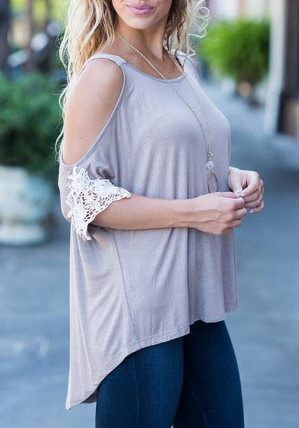 Grey Patchwork Lace Cut Out Off Shoulder Irregular Casual T-Shirt