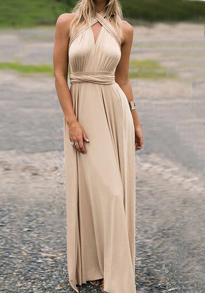 Champagne Sashes Cross Back Halter Neck V-neck Backless Banquet Party Maxi Dress