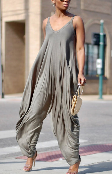 Grey Pleated Shoulder-Strap V-neck Casual Wide Leg Long Jumpsuit