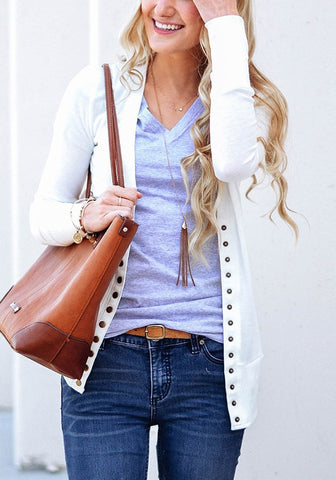 White Buttons Casual Long Sleeve Cardigan Outerwear