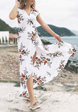 White Flowers Print Slit Sashes V-neck Short Sleeve Maxi Dress