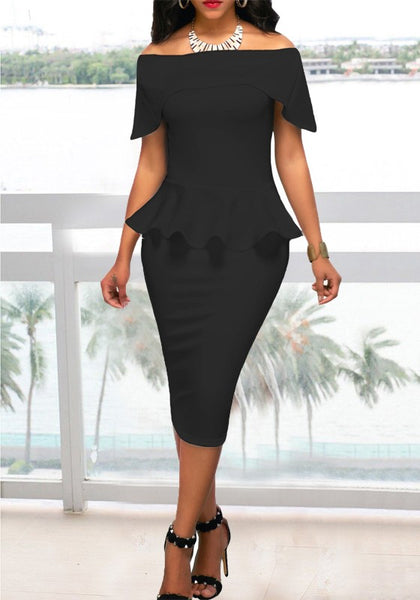 Black Pleated Off Shoulder Peplum Bodycon Elegant Church Banquet Party Midi Dress