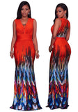 Orange Geometric Print Deep V-neck Sleeveless Slim Vintage Maxi Dress