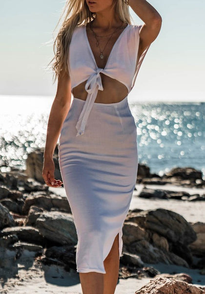 White Cut Out Deep V-neck Casual Going out Maxi Dress