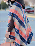 Camel Striped Buttons Cloak Elegant Party Outerwear