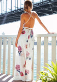 White Floral Tie Back Cut Out Plunging Neckline Maxi Dress
