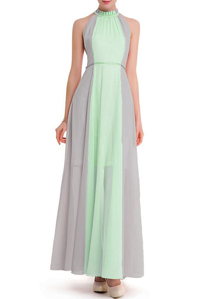 Grey-Green Buttons Hollow-out Off-Shoulder Band Collar Maxi Dress