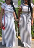 Grey-White Striped Pockets Draped Casual Going out Maxi Dress
