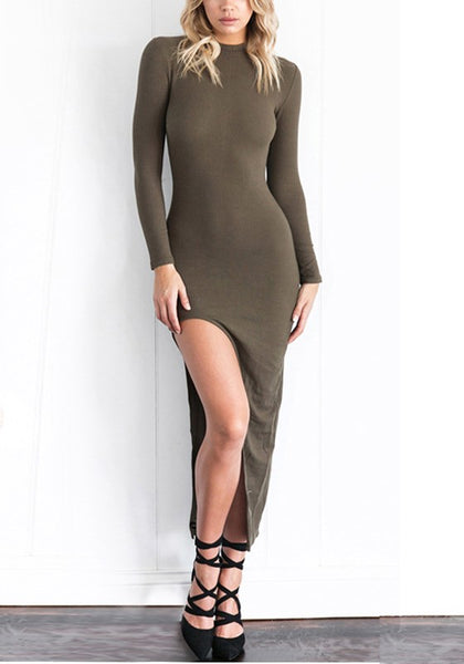 Army Green Irregular Round Neck Long Sleeve Fashion Maxi Dress