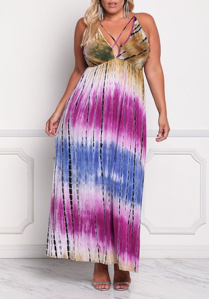 White Color Block Print Draped Cut Out Backless Plus Size Maxi Dress