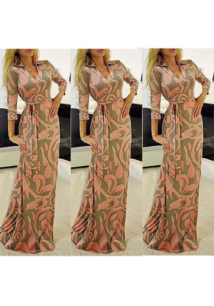 Pink Floral Sashes V-neck Fashion Maxi Dress