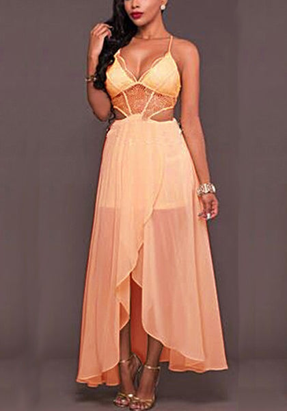 Pink Grenadine Cross Back Irregular Draped Spaghetti Strap High-low Party Maxi Dress