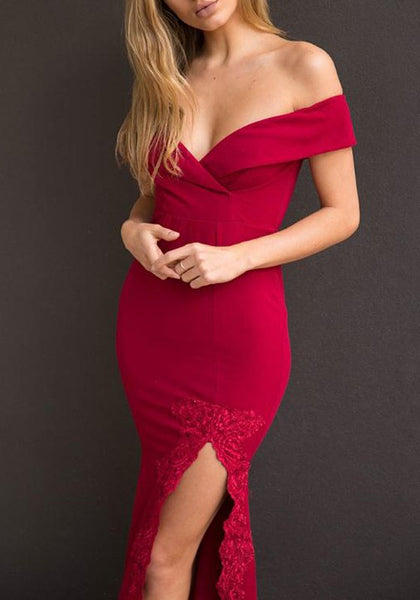 Red Patchwork Lace V-neck Off Shoulder Zipper Side Slit Elegant Maxi Dress