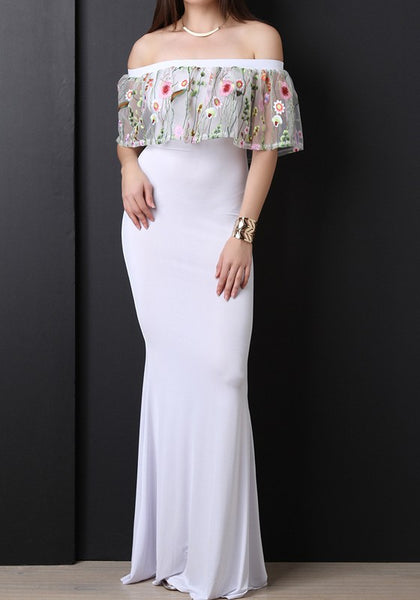 White Patchwork Floral Grenadine Embroidery Backless Off Shoulder Party Maxi Dress