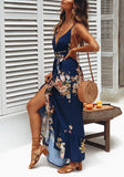 Blue Floral Cross Back Irregular Side Draped V-neck Maxi Dress