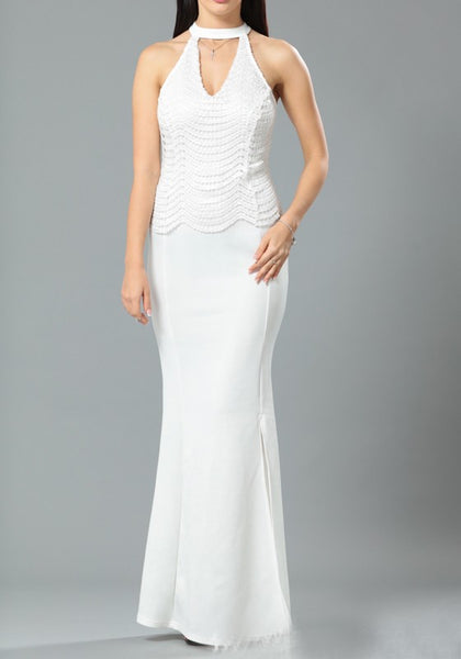 White Patchwork Sequin Zipper Off Shoulder Mermaid V-neck Sleeveless Maxi Dress