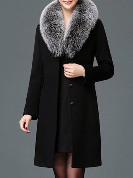 Black Patchwork Pockets Buttons Fur Collar Fashion Outerwear