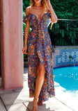 Purple Floral Cut Out Ruffle Irregular Plunging Neckline Maxi Dress
