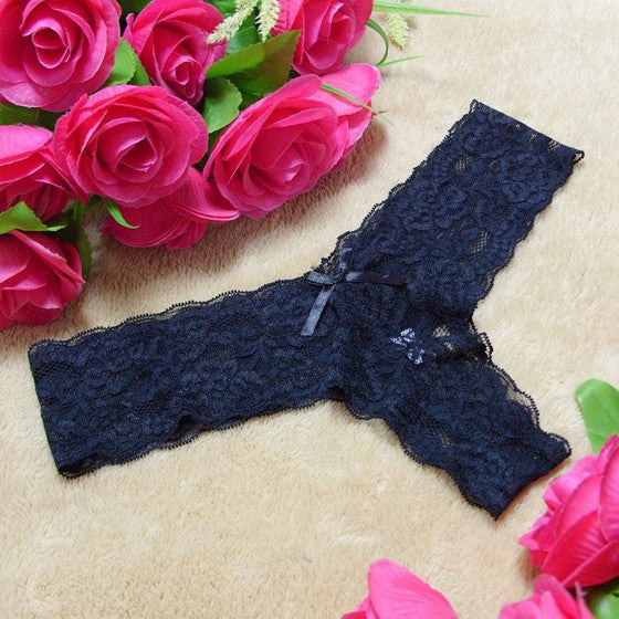 Black Patchwork Lace Bow Elastic Waist Fashion Shorts